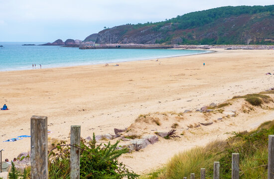 Erquy, Cotes-d-Armor, France - 25 August, 2019: Atlantic coast with Beach and cape of Erquy, English channel, Bretagne in northern France