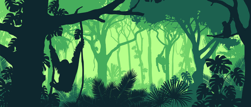 Beautiful vector landscape of a rainforest jungle with orangutan monkeys and lush foliage in green colors.