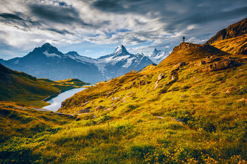 Wall Mural - Great view of the Schreckhorn and Wetterhorn peaks. Location place Bachalpsee, Swiss alps, Switzerland.
