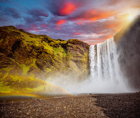 Wall Mural - View of powerful stream of the famous Skogafoss waterfall. Location place Iceland, Europe.