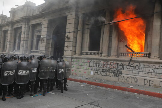 Protest demanding the resignation of President Alejandro Giammattei, in Guatemala City, Guatemala