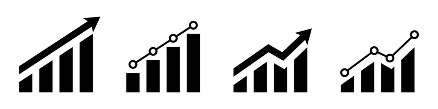 Financial chart. Statistic bar chart icon set. Growing economic graph. Business success Financial report design. Accounting business concept. Investment success. Stock market. Vctor graphic.