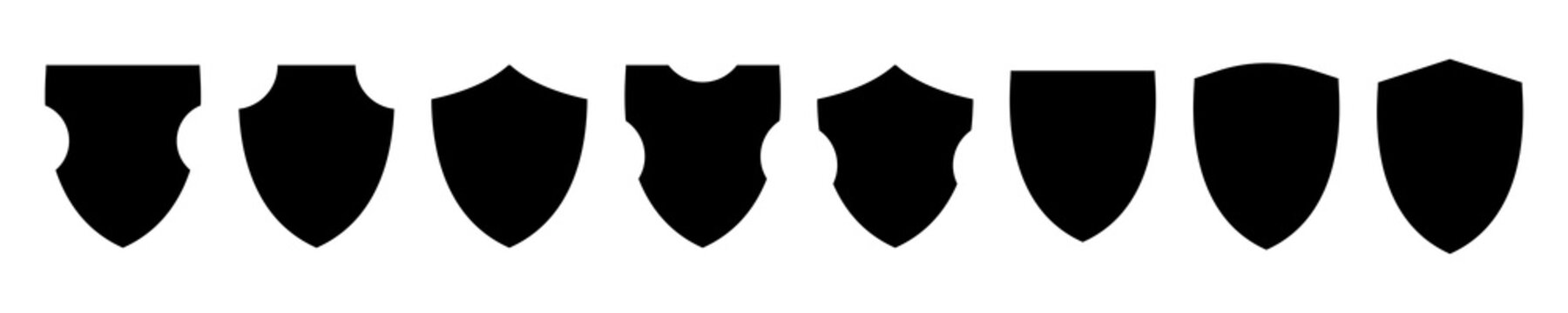 Different shields shapes. Shields icon set. Protect badge. Black security icon. Protection symbol. Security logo.Vector graphic.