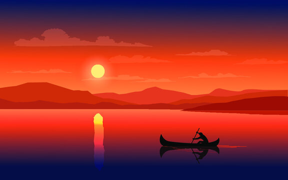 Beautiful sunset on the lake with man on canoe