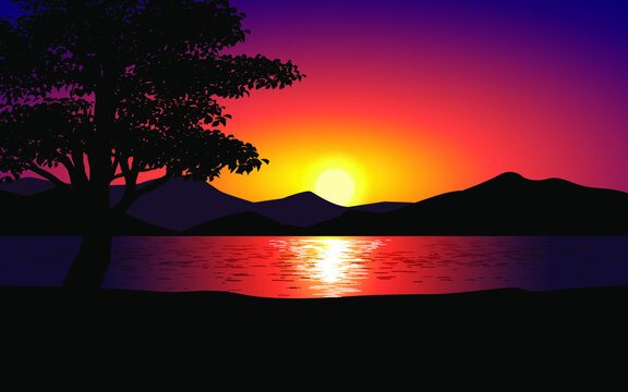 Sunset on the lake with tree