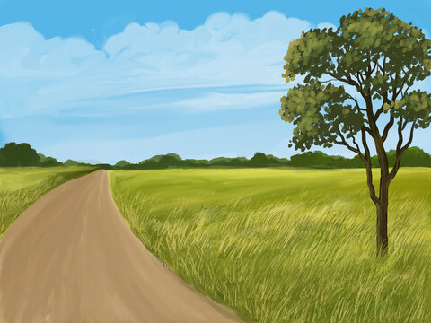 field and blue sky, oil painting illustration