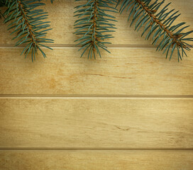 Green spruce with needles on the top side of the picture. Christmas background of fir tree branches on wooden board, copy space for text, top view.