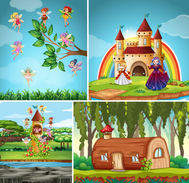 Four different scene of fantasy world with fantasy places and fantasy characters such as log house and fairies
