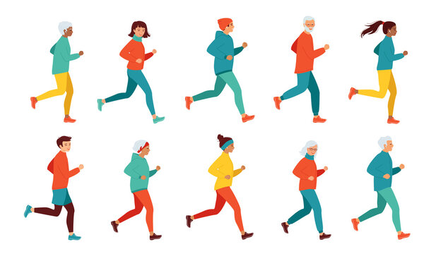 Collection of running women and men of different ages and nationalities. Healthy lifestyle, active retired seniors. Morning, evening jogging, city marathon, competitions. Isolated vector illustration