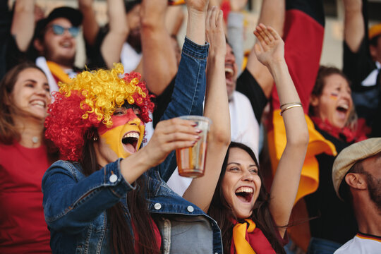 Excited German fans celebrating their team's victory
