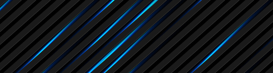 Abstract black stripes with blue neon glowing light. Vector technology banner design