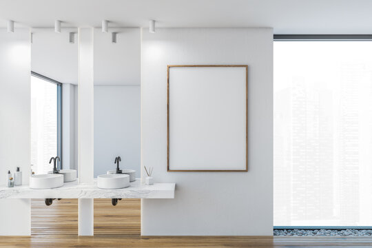 Mockup canvas in bathroom, two sinks with mirrors in white stylish flat