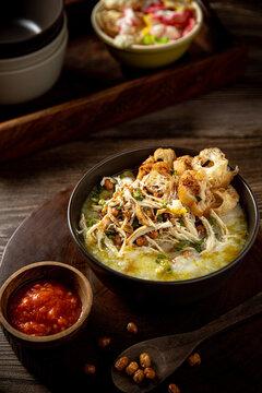 Bubur Ayam, Indonesian traditional rice porridge with shredded chicken