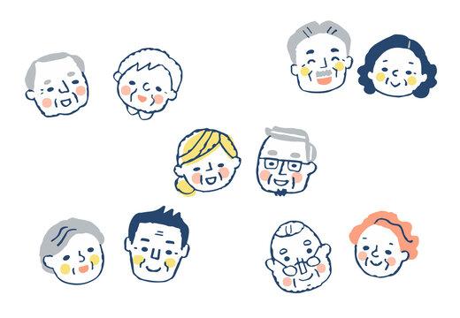 シニアカップルの顔 5組