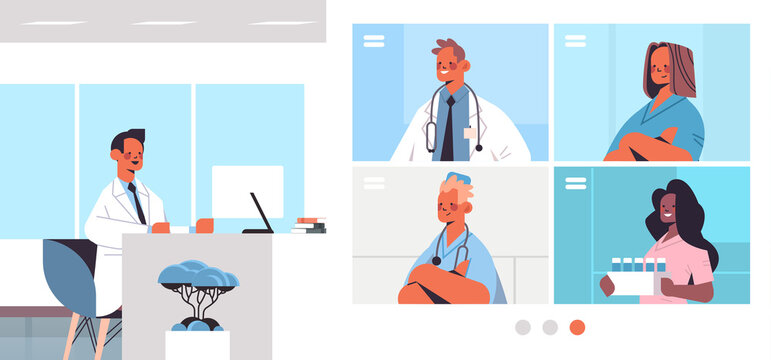 male doctor having video conference with mix race medical professionals in web browser windows medicine healthcare online communication concept horizontal vector illustration