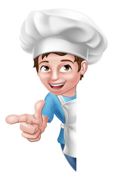 A kid cartoon boy chef, cook or baker child peeking around a sign and pointing at the viewer