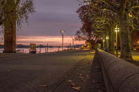 Rheinufer in Mainz an einem Herbstmorgen