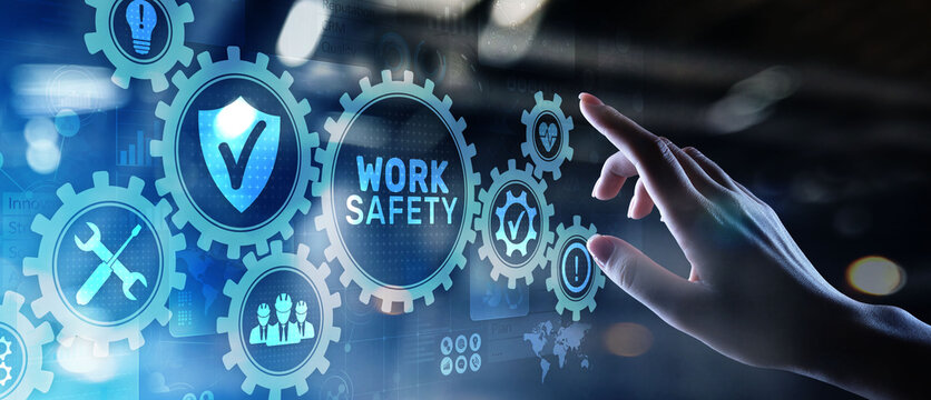 Work safety instruction standards law insurance industrial technology and regulation concept.