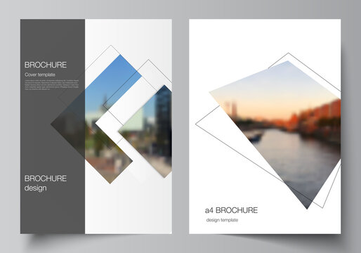 Vector layout of A4 format cover mockups design templates with geometric simple shapes, lines and photo place for brochure, flyer layout, booklet, cover design, book, brochure cover.