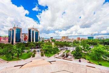 Tirana city aerial panoramic view, Albania
