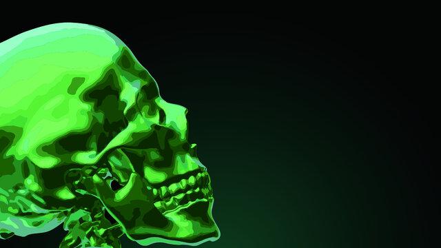 緑の骸骨の背景。