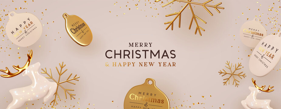 Christmas background with realistic decorative holiday design objects. 3d Ceramic porcelain glass deer, gold metal snowflake, round gold label, glitter confetti. Xmas Banner and poster. Happy New Year