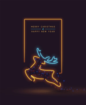 Merry Christmas and Happy New Year. Background Reindeer Effect Neon light garlands. Holiday pattern Xmas deer. Banner and poster. Vector illustration.