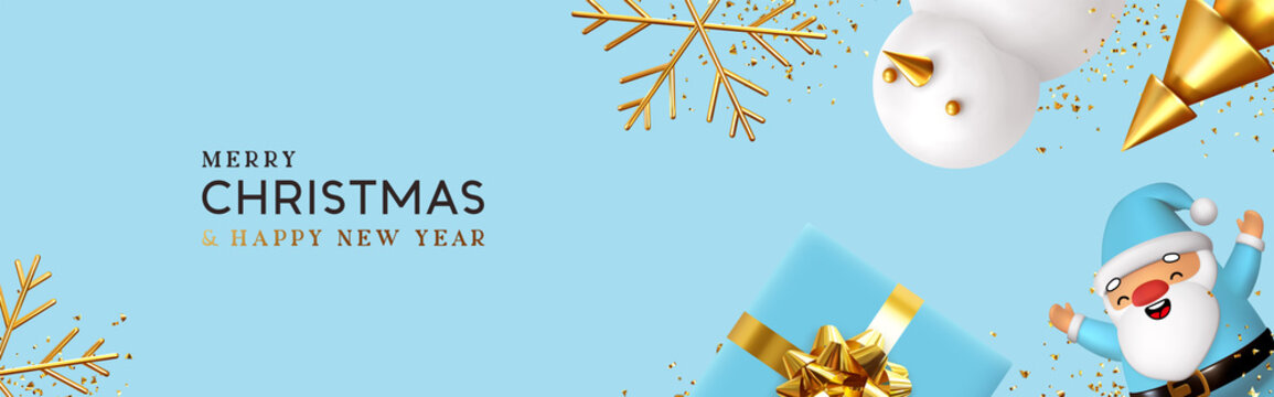 Christmas and New Year holiday. Blue Background with realistic gift box, 3d render merry Santa Claus, snowman and golden tree. Greeting card, banner, horizontal poster, website header. Xmas decorative