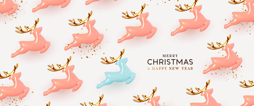 Christmas reindeer Realistic ceramic. Holiday pattern Xmas deer. Pink and blue Porcelain decorative toy figurine. New Year background. Vector illustration.