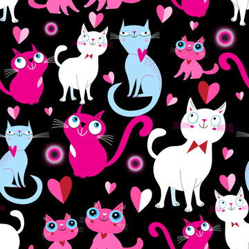 Funny seamless bright festive pattern of lovers of cats