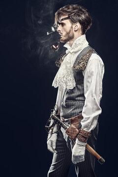 steampunk smokes a pipe