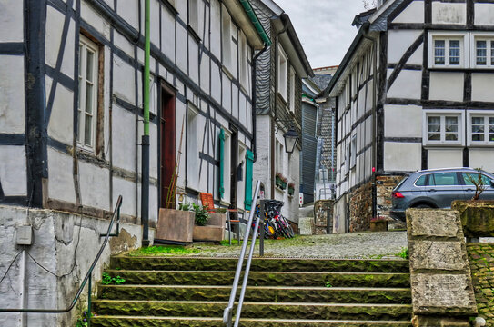 Stair and half-timber houses in Velbert Neviges