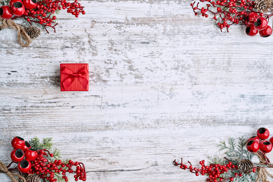 Christmas composition. Flat lay. Copy space. Banner backdrop