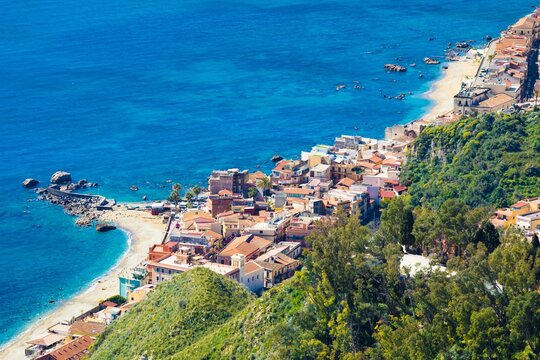 Aerial view of Giardini Naxos, comune in Messina on Sicily Island, Italy.