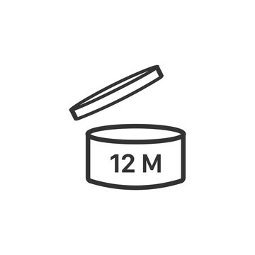 Expiration date 12 months icon. Period after opening symbol modern, simple, vector, icon for website design, mobile app, ui. Vector Illustration