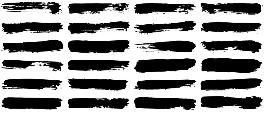 Set of vector brush strokes. Dirty ink texture splatters. Grunge rectangle text boxes.