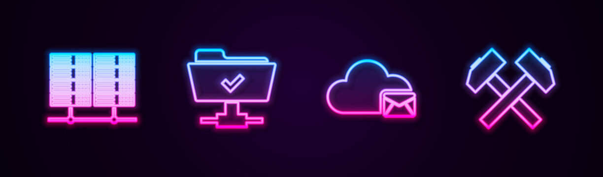 Set line Server, Data, Web Hosting, FTP operation successful, Cloud mail server and Two crossed hammers. Glowing neon icon. Vector.