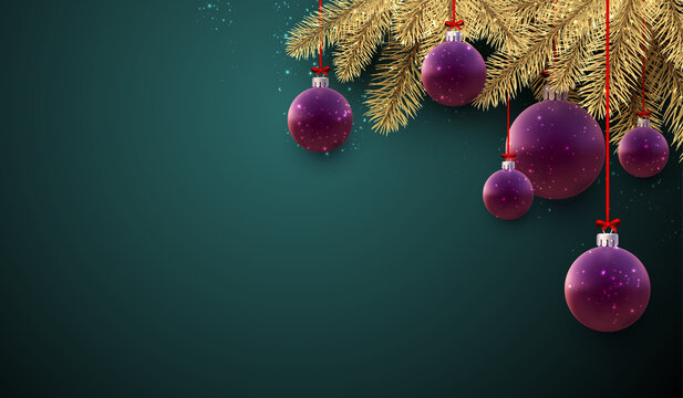 Purple christmas balls with spruce branches.