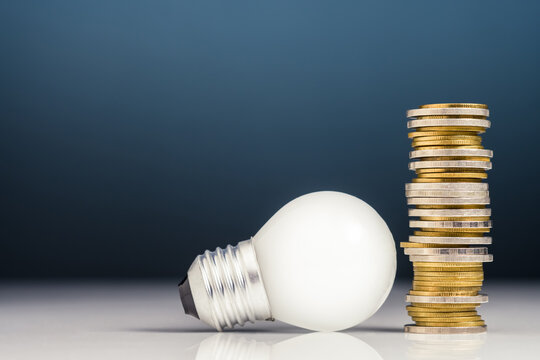 Make Money Idea, Heap Coins and Bulb
