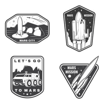 Set of space mission logo, badge, patch. Vector Concept for shirt, print, stamp. Vintage typography design with space rocket, mars rover and city on mars silhouette