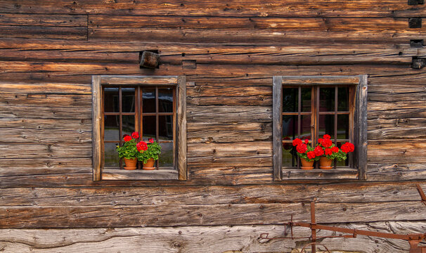 rustic windows in wooden back