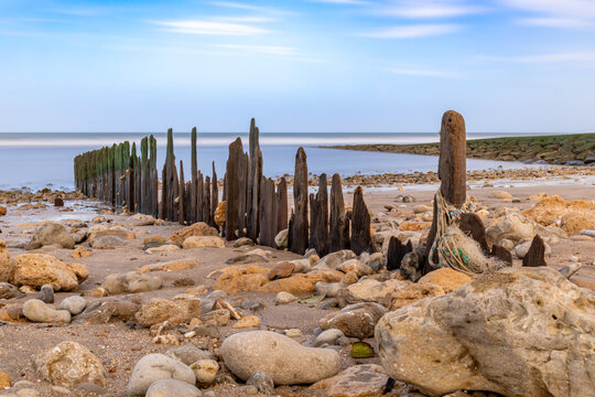 The beach at low-tide at Villers-sur-Mer, Normandy, France (Long Exposure)
