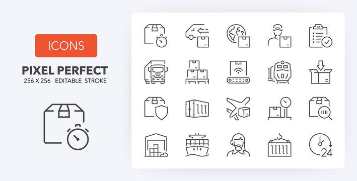 logistics line icons 256 x 256