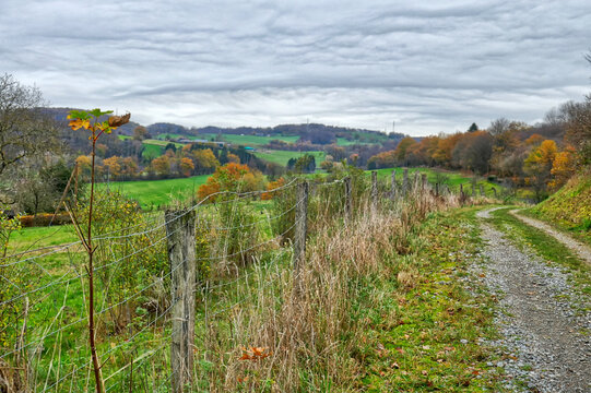Schöner Wanderweg bei bei Velbert Neviges im Herbst