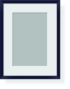 Isolated black plastic frame on white background with white mat and gray paper inside. Empty picture frame on transparent background.  Realistic vector image. Template  mockup.