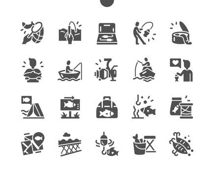 Fishing. Fishing sport, outdoor summer recreation, leisure time, camping. Man is fishing in a boat. Tackle box. Vector Solid Icons. Simple Pictogram