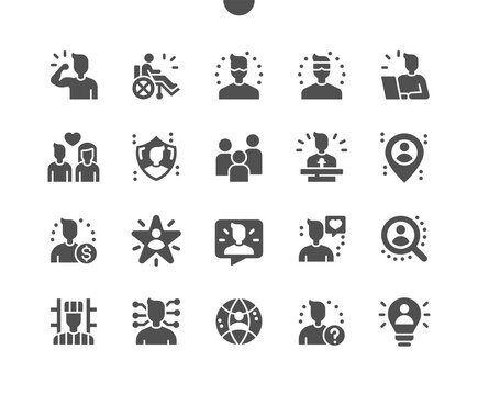 People. Grouping people. Humanity, versatile person, celebrity, community, leader, beloved, scientist, disabled. Vector Solid Icons. Simple Pictogram