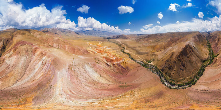 Full 360 equirectangular spherical panorama of eroded landform of Altai mountains. Nature landscape called Mars, Altai Republic, Russia, aerial drone shot, virtual reality content.
