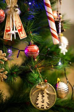 Christmas tree decorations and toys. Abstract and background scene