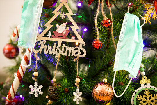 Christmas tree decorations and masks. Abstract and background scene